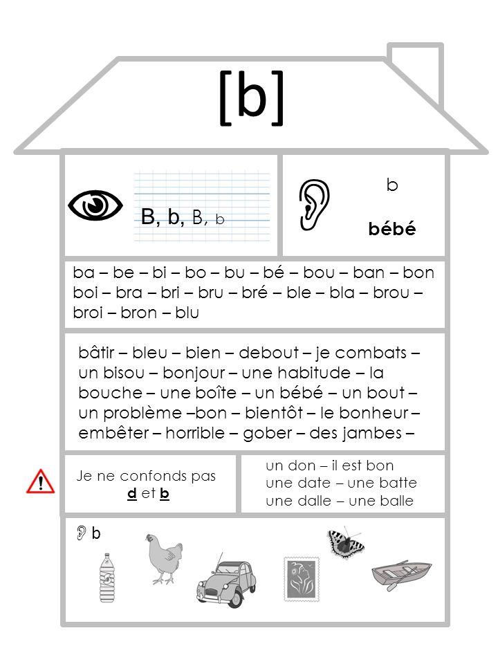 [b]   b. bébé. B, b, B, b. ba – be – bi – bo – bu – bé – bou – ban – bon boi – bra – bri – bru – bré – ble – bla – brou – broi – bron – blu.
